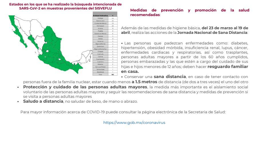 405 casos confirmados y cinco defunciones por Covid-19